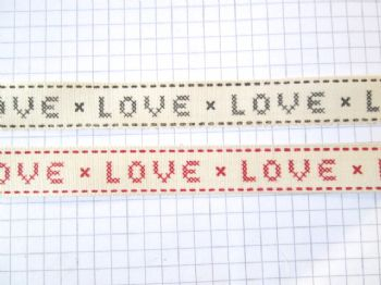 15mm Cross Stitch 'LOVE' Ribbon  Vintage Style   Choice of Colour